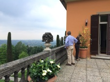 Checking the flowers on the terrace outside the master bedroom