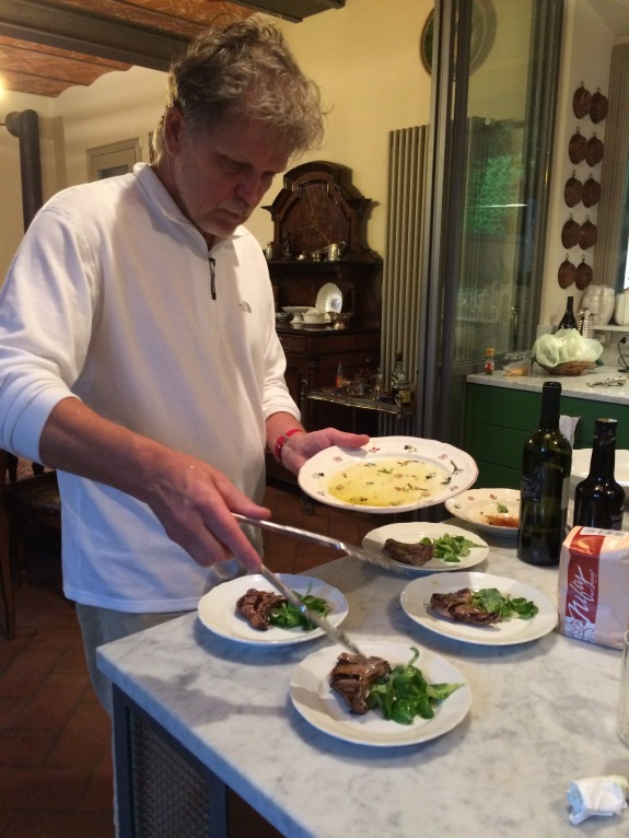 Final prep of the lamb chops