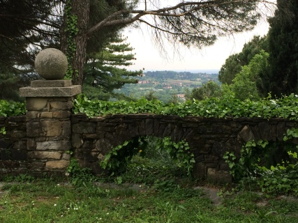 The view from the end of the garden toward Barzanò