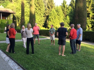 Bocce and Badminton at the villa