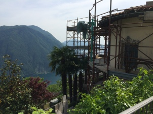 Construction on a home up from the little town of Monte Bré