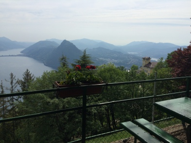 View from the cafe at the top of the funicular to Monte Bre